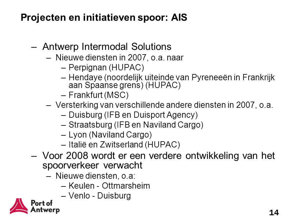 Projecten en initiatieven spoor: AIS