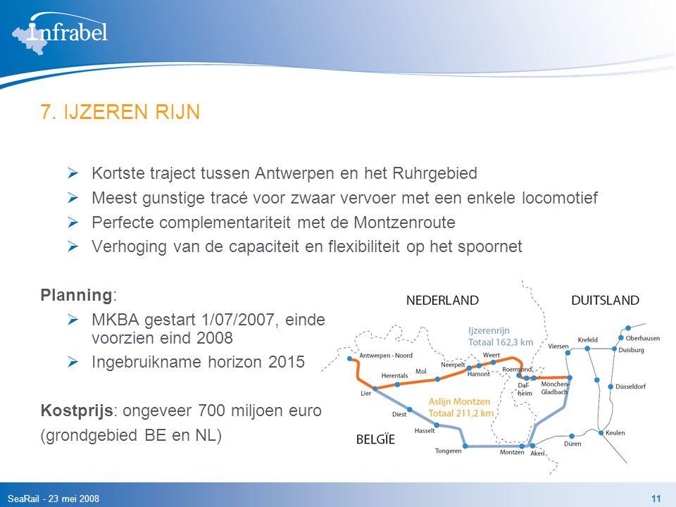 7. IJZEREN RIJN Kortste traject tussen Antwerpen en het Ruhrgebied