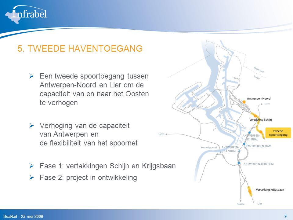 5. TWEEDE HAVENTOEGANG Een tweede spoortoegang tussen Antwerpen-Noord en Lier om de capaciteit van en naar het Oosten te verhogen.