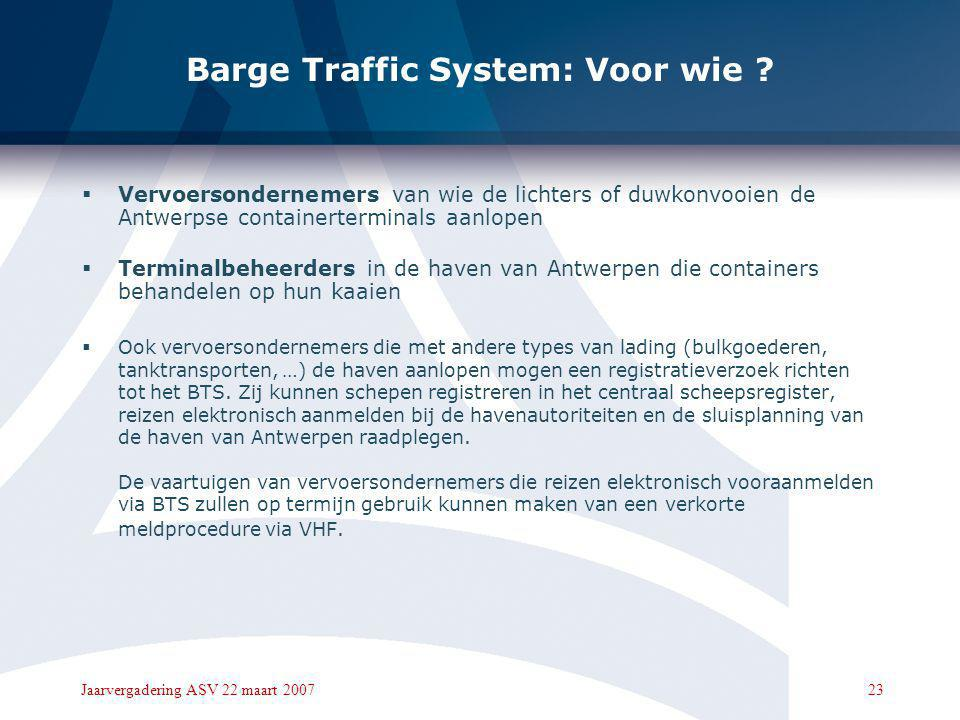 Barge Traffic System: Voor wie