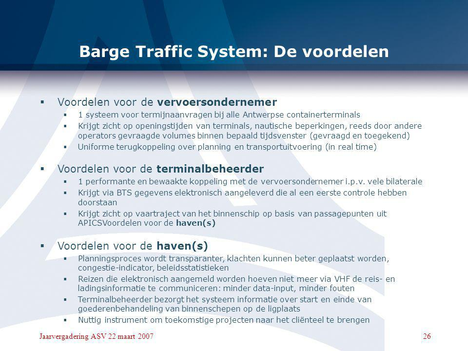 Barge Traffic System: De voordelen