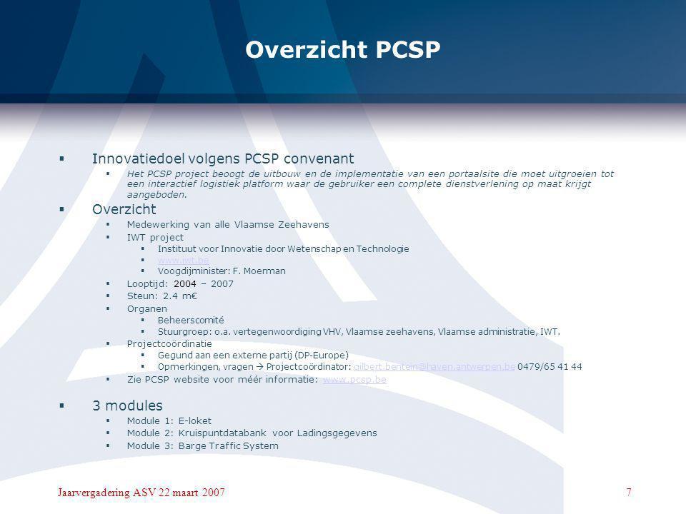Overzicht PCSP Innovatiedoel volgens PCSP convenant Overzicht