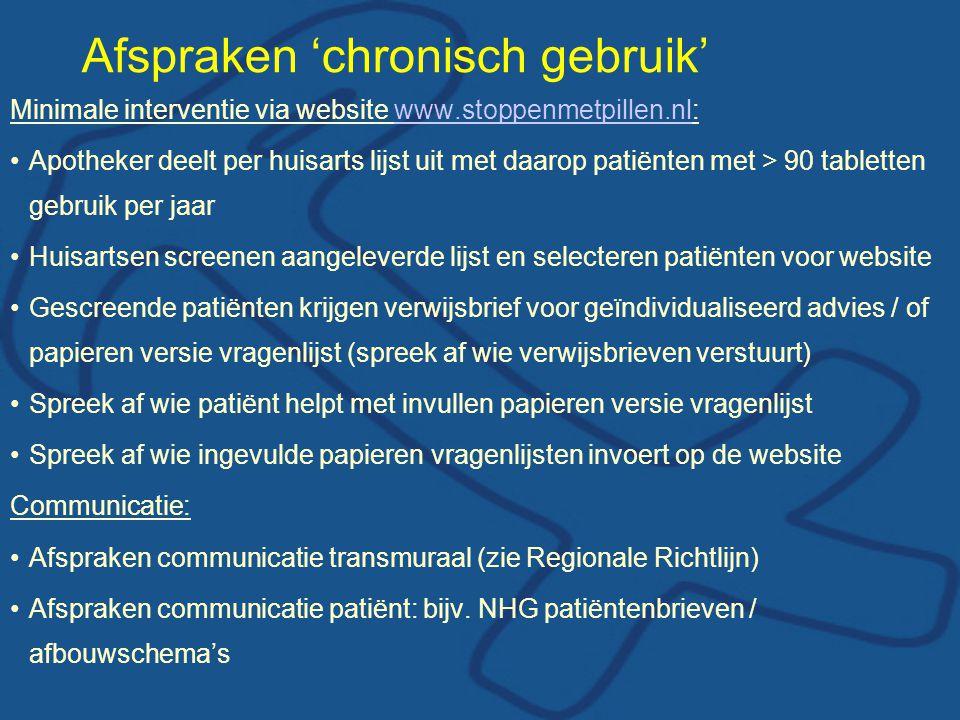 Afspraken 'chronisch gebruik'
