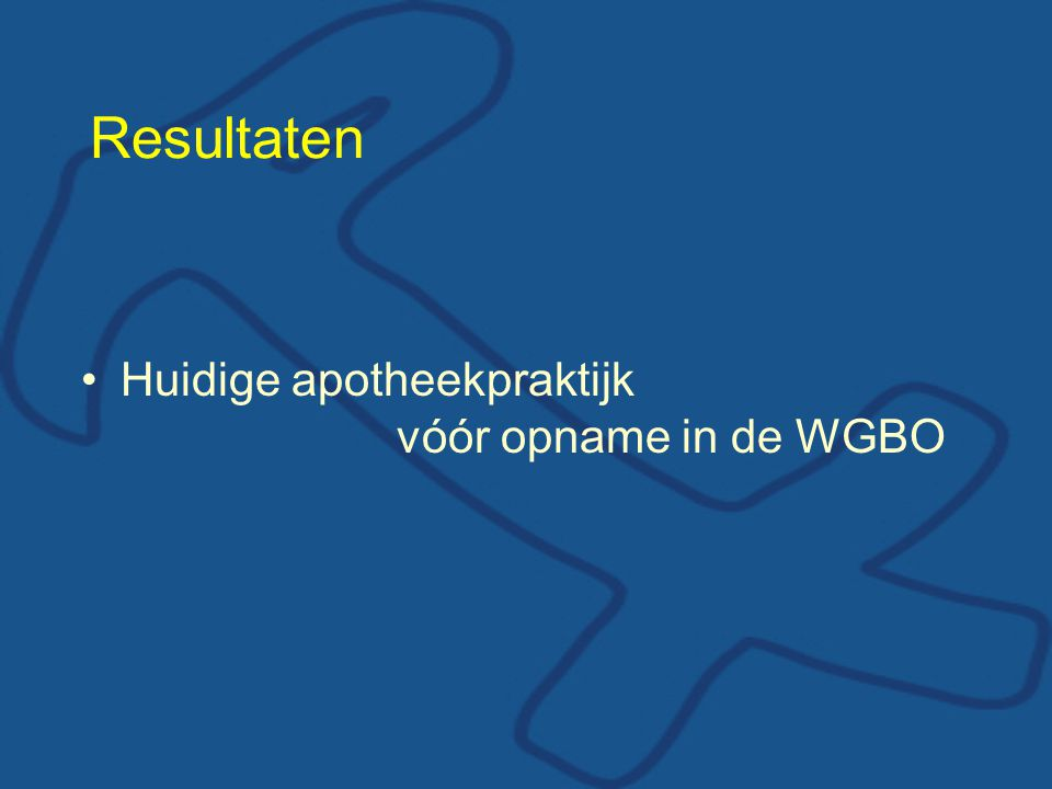 Resultaten Huidige apotheekpraktijk vóór opname in de WGBO