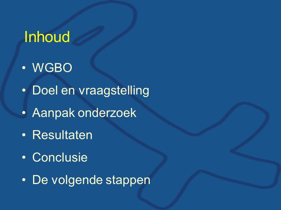 Inhoud WGBO Doel en vraagstelling Aanpak onderzoek Resultaten
