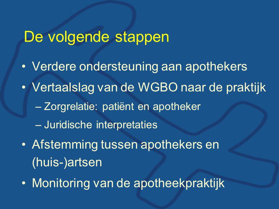 De volgende stappen Verdere ondersteuning aan apothekers
