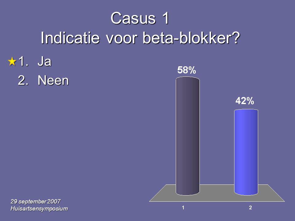 Casus 1 Indicatie voor beta-blokker