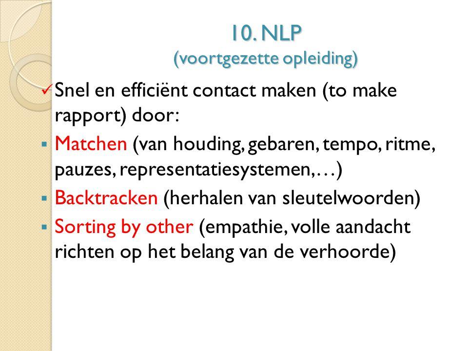 10. NLP (voortgezette opleiding)
