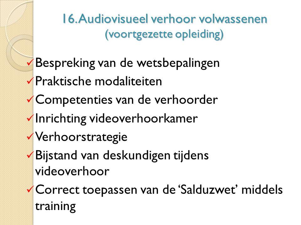 16. Audiovisueel verhoor volwassenen (voortgezette opleiding)