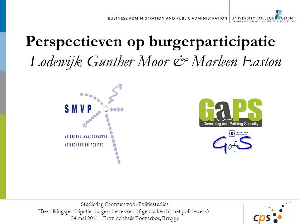Perspectieven op burgerparticipatie Lodewijk Gunther Moor & Marleen Easton