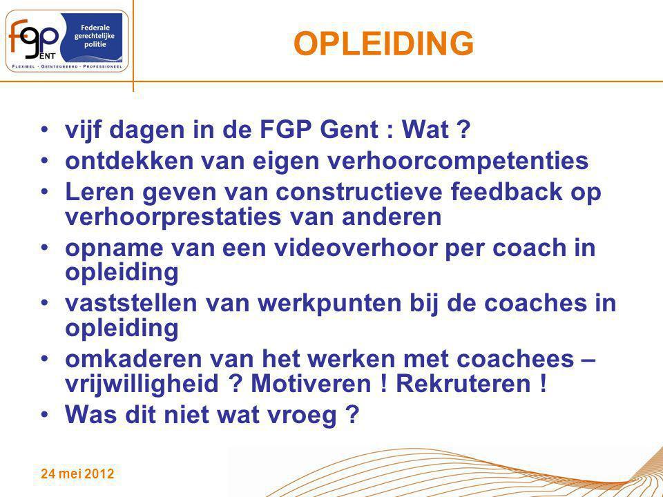 OPLEIDING vijf dagen in de FGP Gent : Wat