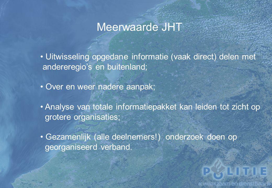 Meerwaarde JHT Uitwisseling opgedane informatie (vaak direct) delen met. andereregio's en buitenland;