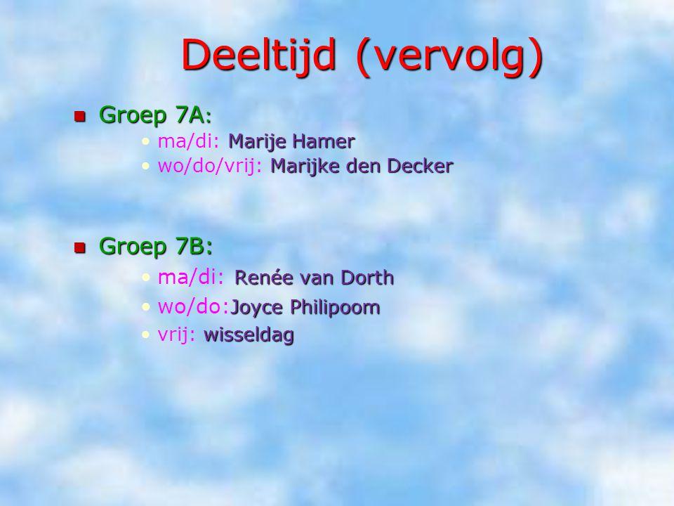 Deeltijd (vervolg) Groep 7A: Groep 7B: ma/di: Renée van Dorth
