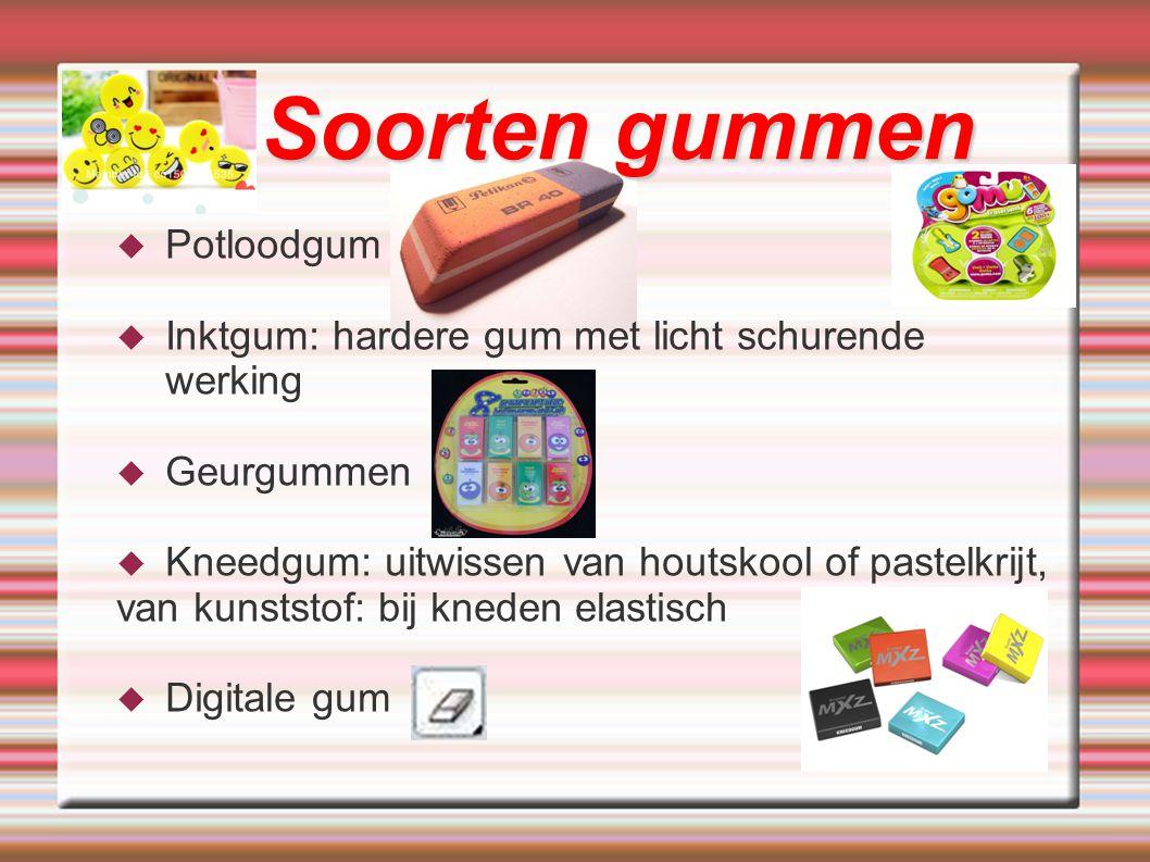 Soorten gummen Potloodgum