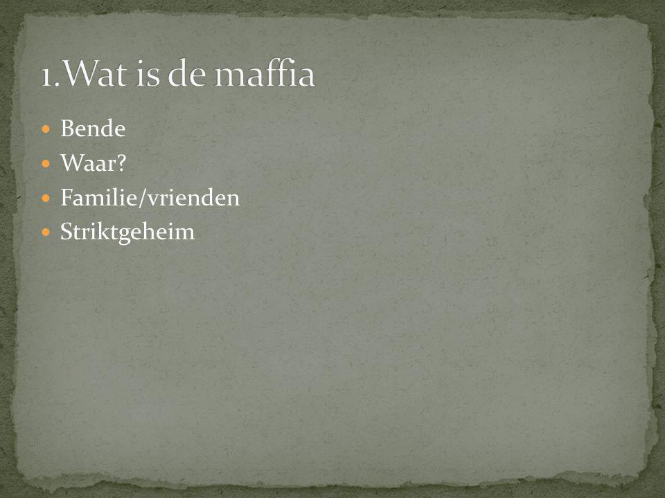 1.Wat is de maffia Bende Waar Familie/vrienden Striktgeheim