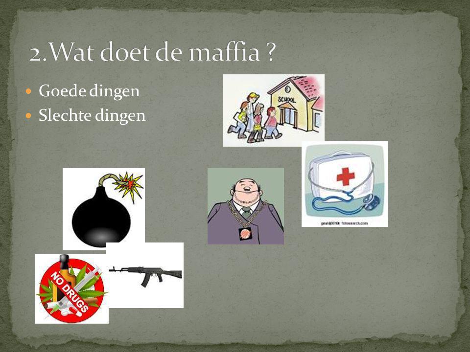 2.Wat doet de maffia Goede dingen Slechte dingen