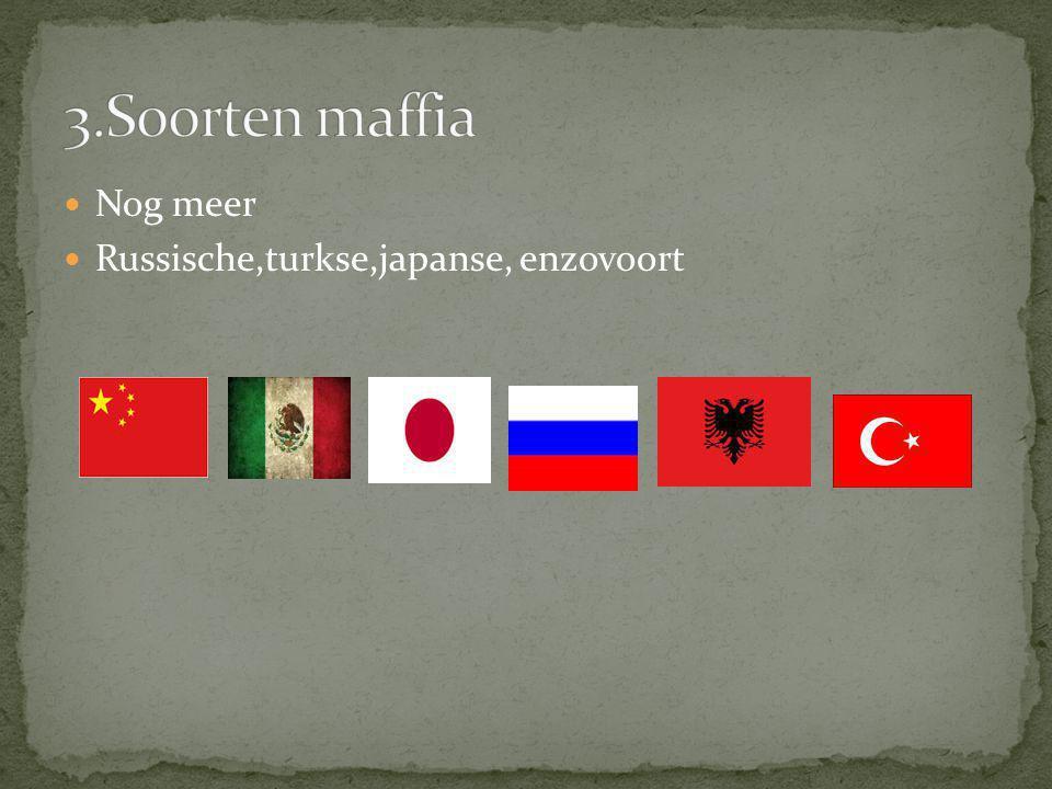 3.Soorten maffia Nog meer Russische,turkse,japanse, enzovoort