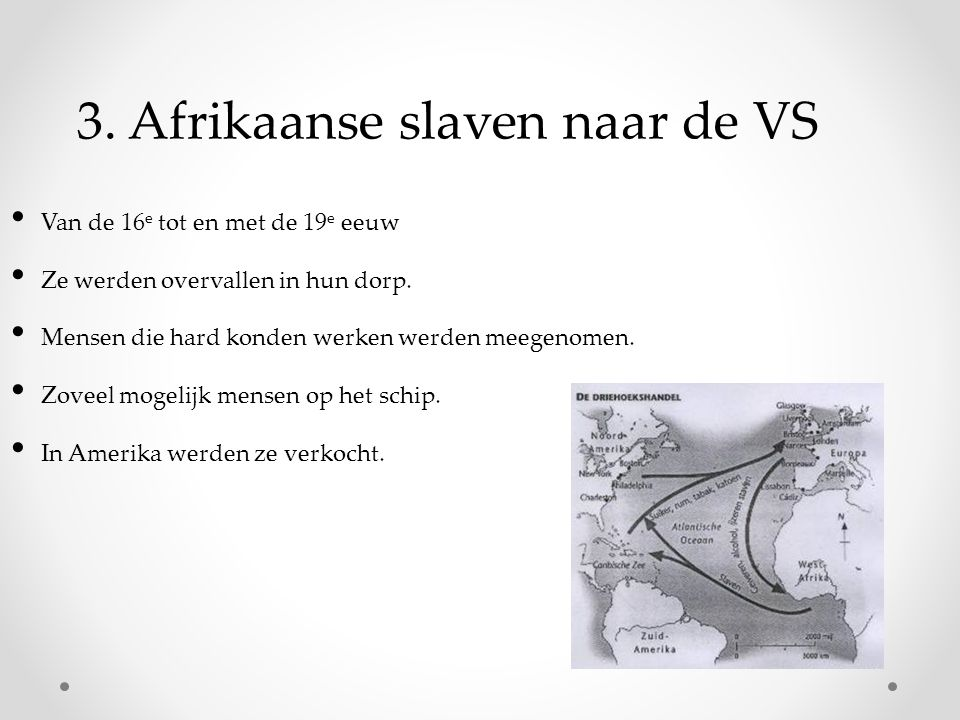 3. Afrikaanse slaven naar de VS