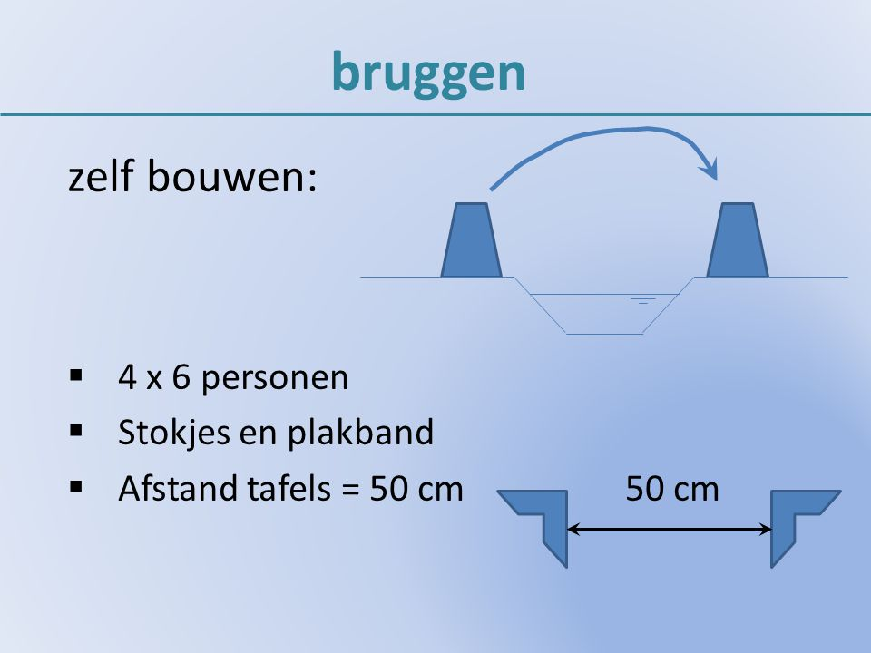 bruggen zelf bouwen: 4 x 6 personen Stokjes en plakband