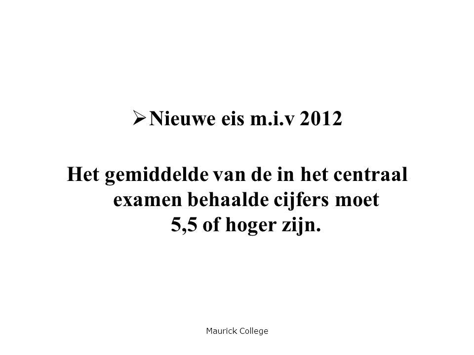 Nieuwe eis m.i.v 2012 Het gemiddelde van de in het centraal examen behaalde cijfers moet 5,5 of hoger zijn.