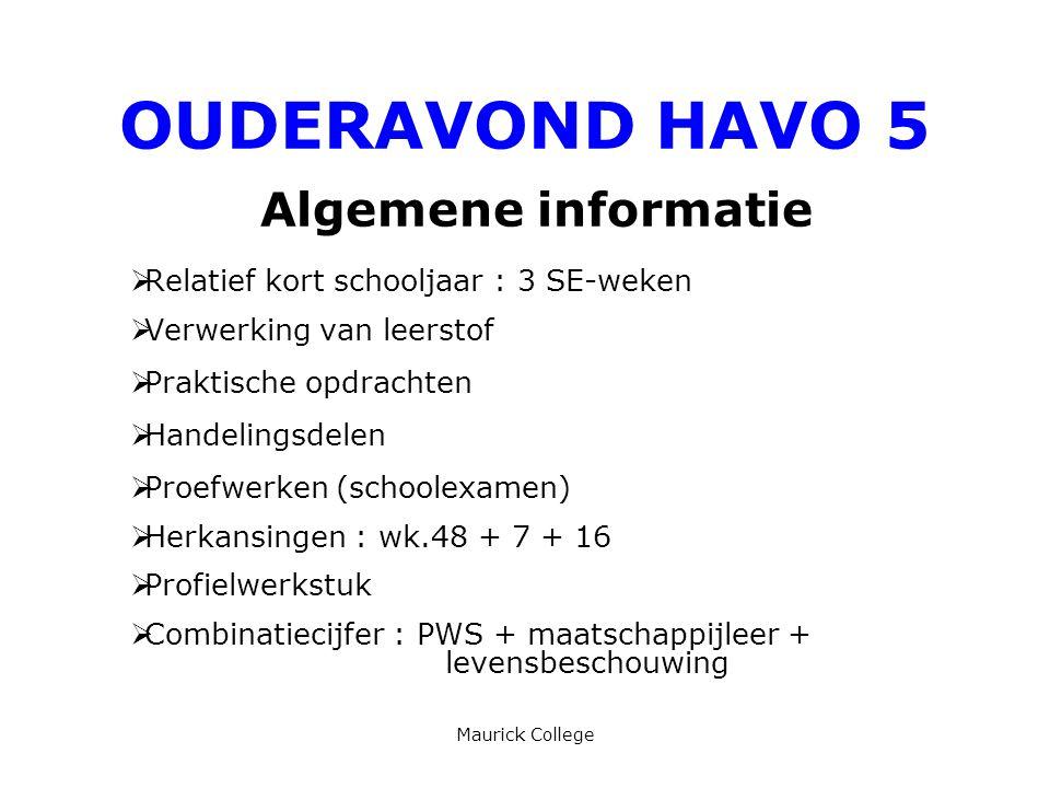 OUDERAVOND HAVO 5 Algemene informatie
