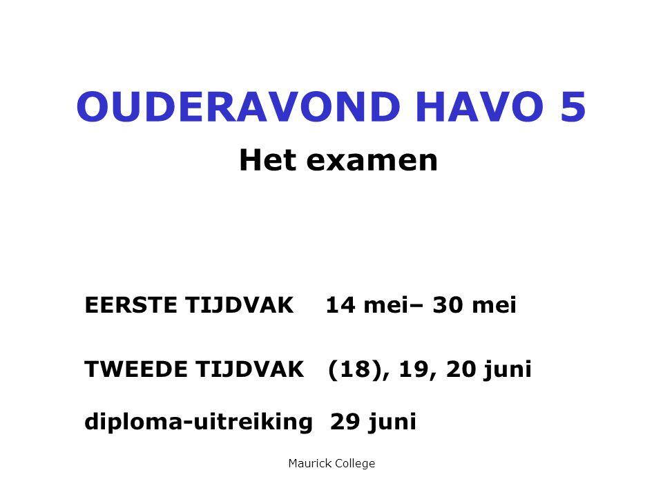 OUDERAVOND HAVO 5 Het examen