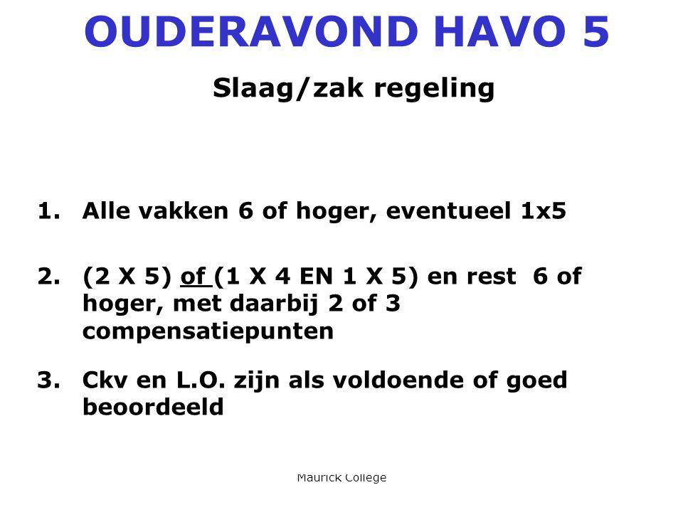 OUDERAVOND HAVO 5 Slaag/zak regeling