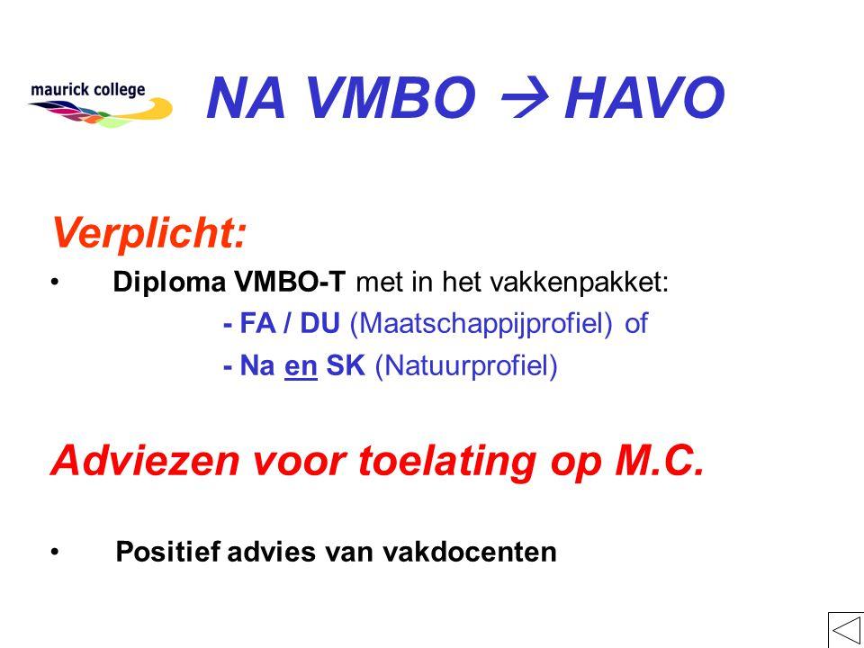 NA VMBO  HAVO Verplicht: Adviezen voor toelating op M.C.