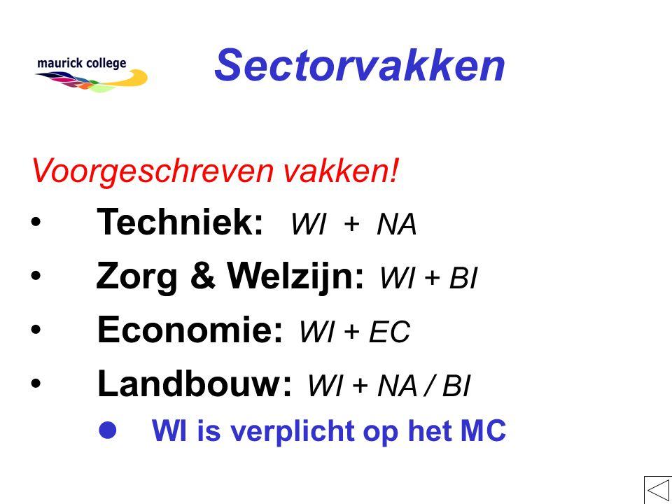 Sectorvakken Techniek: WI + NA Zorg & Welzijn: WI + BI