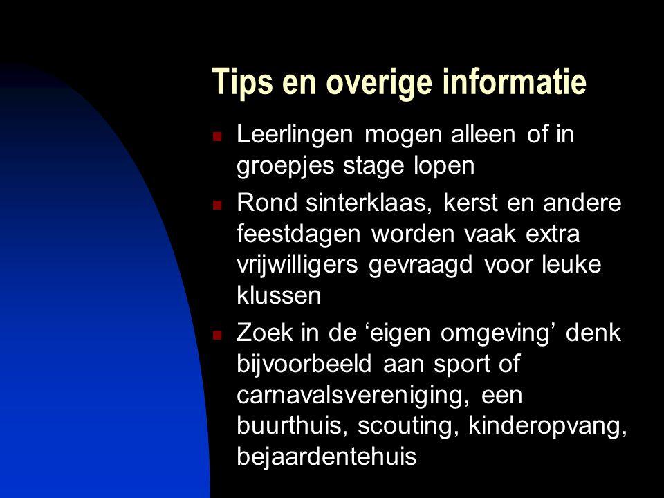 Tips en overige informatie