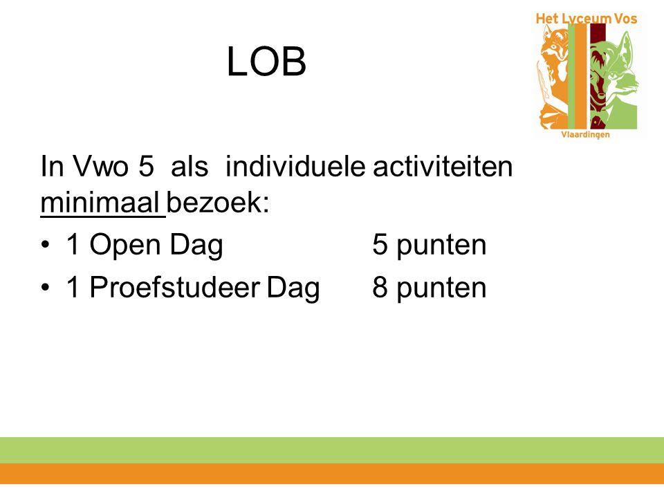 LOB In Vwo 5 als individuele activiteiten minimaal bezoek:
