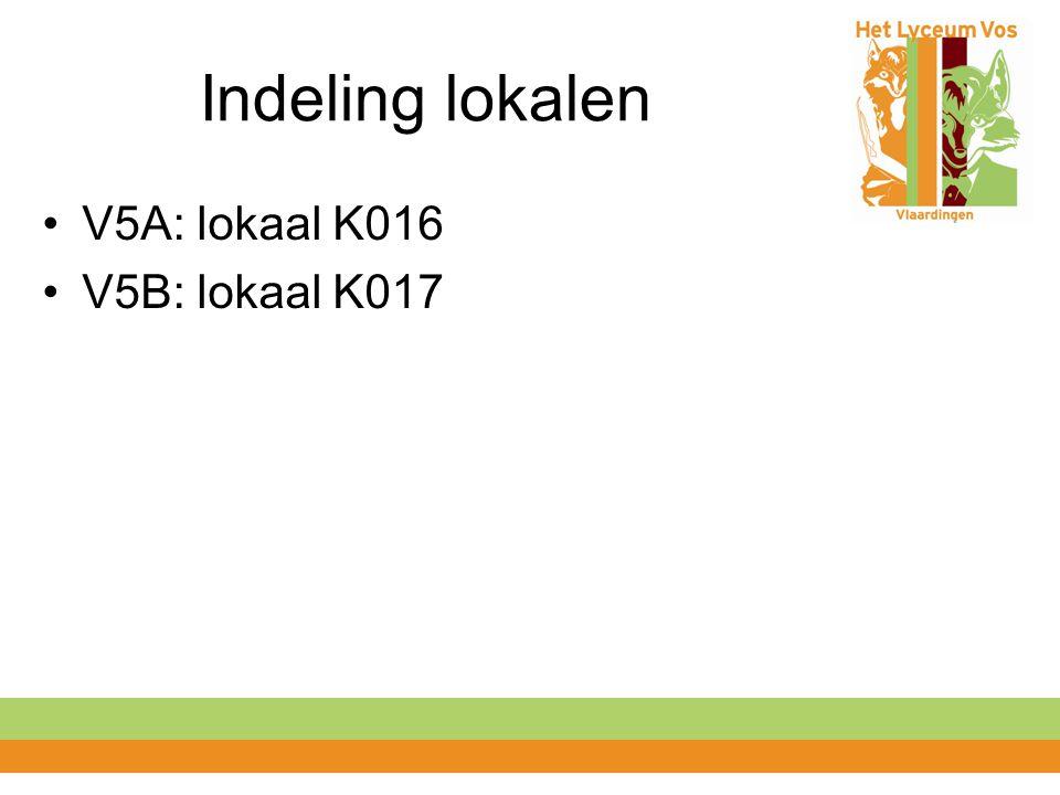 Indeling lokalen V5A: lokaal K016 V5B: lokaal K017