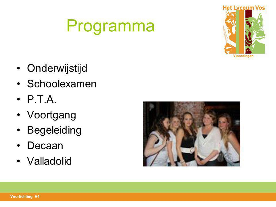 Programma Onderwijstijd Schoolexamen P.T.A. Voortgang Begeleiding