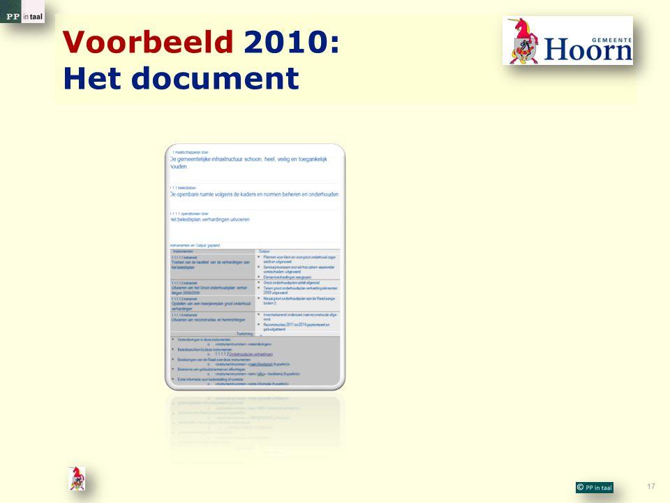 Voorbeeld 2010: Het document