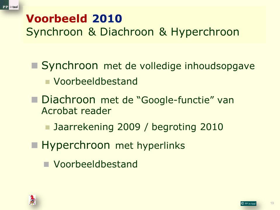 Voorbeeld 2010 Synchroon & Diachroon & Hyperchroon