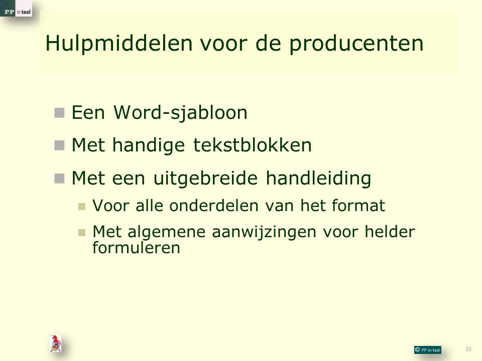 Hulpmiddelen voor de producenten