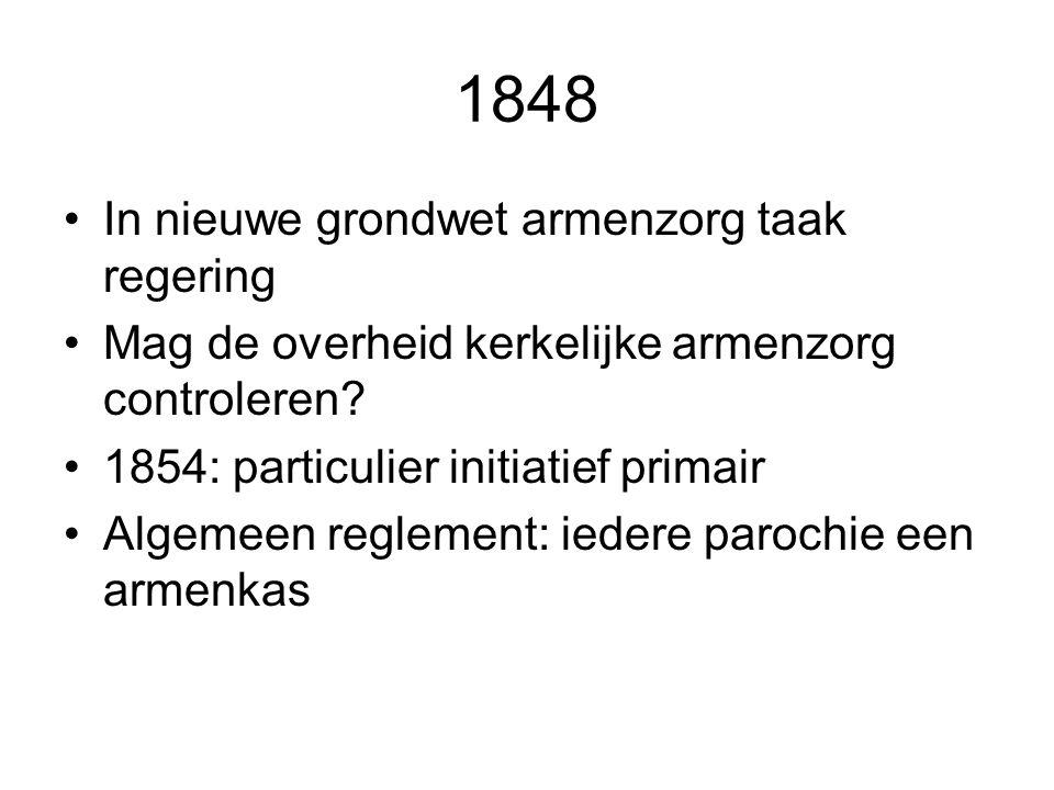 1848 In nieuwe grondwet armenzorg taak regering