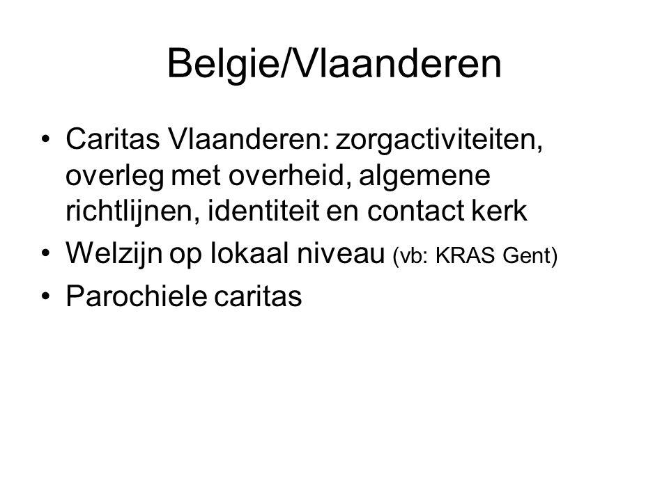 Belgie/Vlaanderen Caritas Vlaanderen: zorgactiviteiten, overleg met overheid, algemene richtlijnen, identiteit en contact kerk.