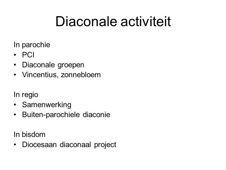 Diaconale activiteit In parochie PCI Diaconale groepen