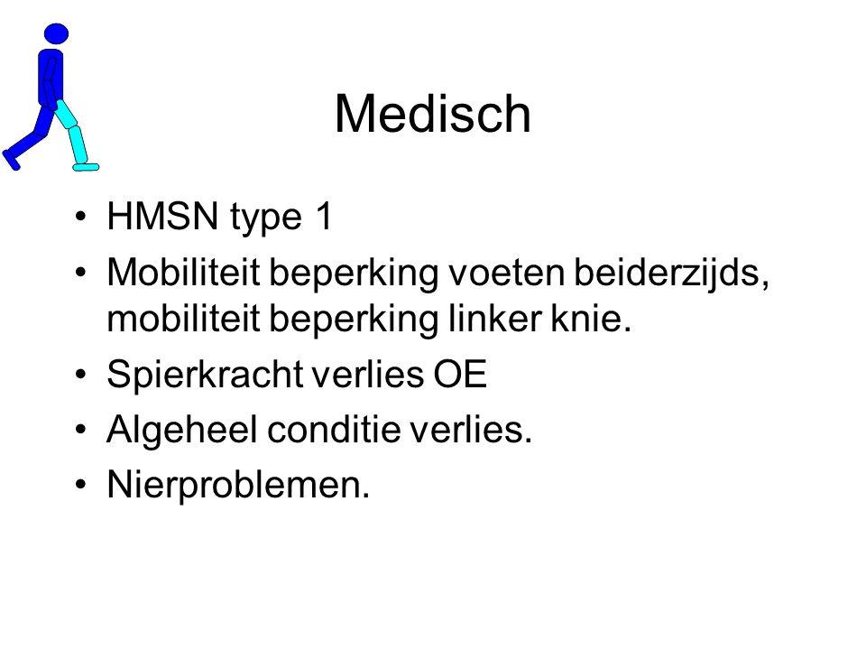 Medisch HMSN type 1. Mobiliteit beperking voeten beiderzijds, mobiliteit beperking linker knie. Spierkracht verlies OE.