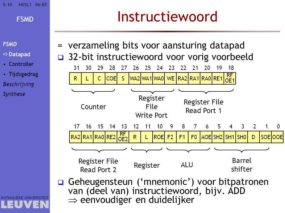 Instructiewoord verzameling bits voor aansturing datapad