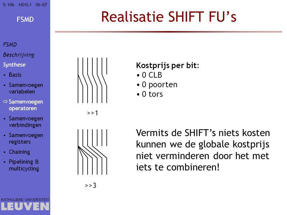Vak - hoofdstuk Realisatie SHIFT FU's. FSMD. Beschrijving. Synthese. Basis. Samenvoegen variabelen.