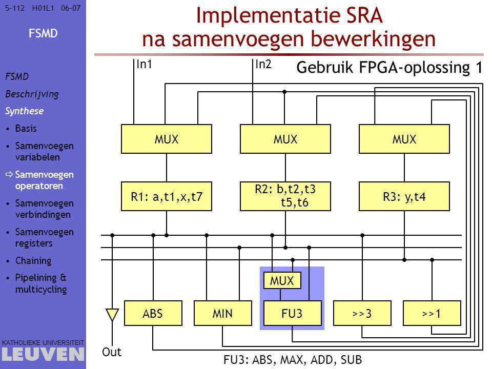 Implementatie SRA na samenvoegen bewerkingen