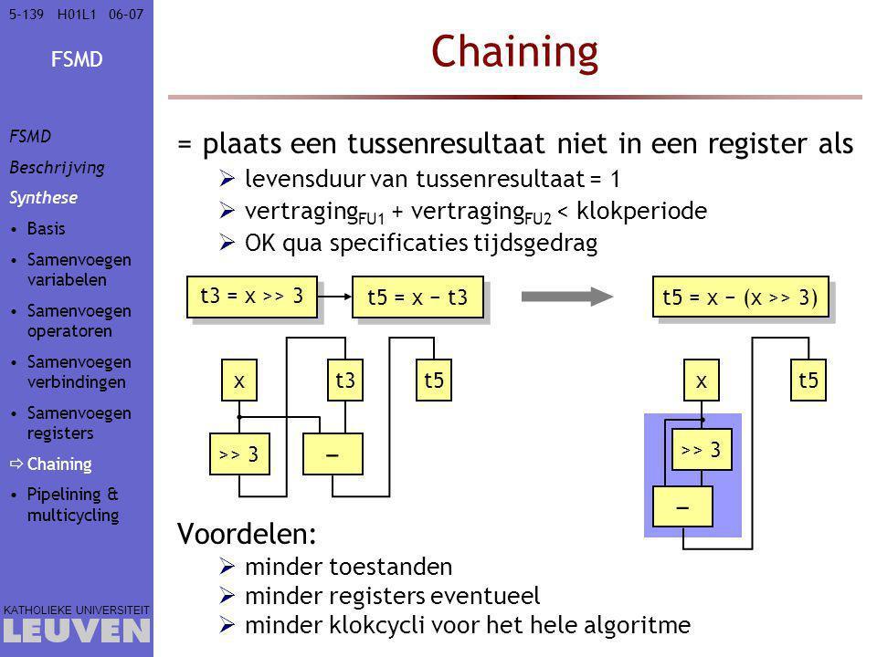 Chaining plaats een tussenresultaat niet in een register als