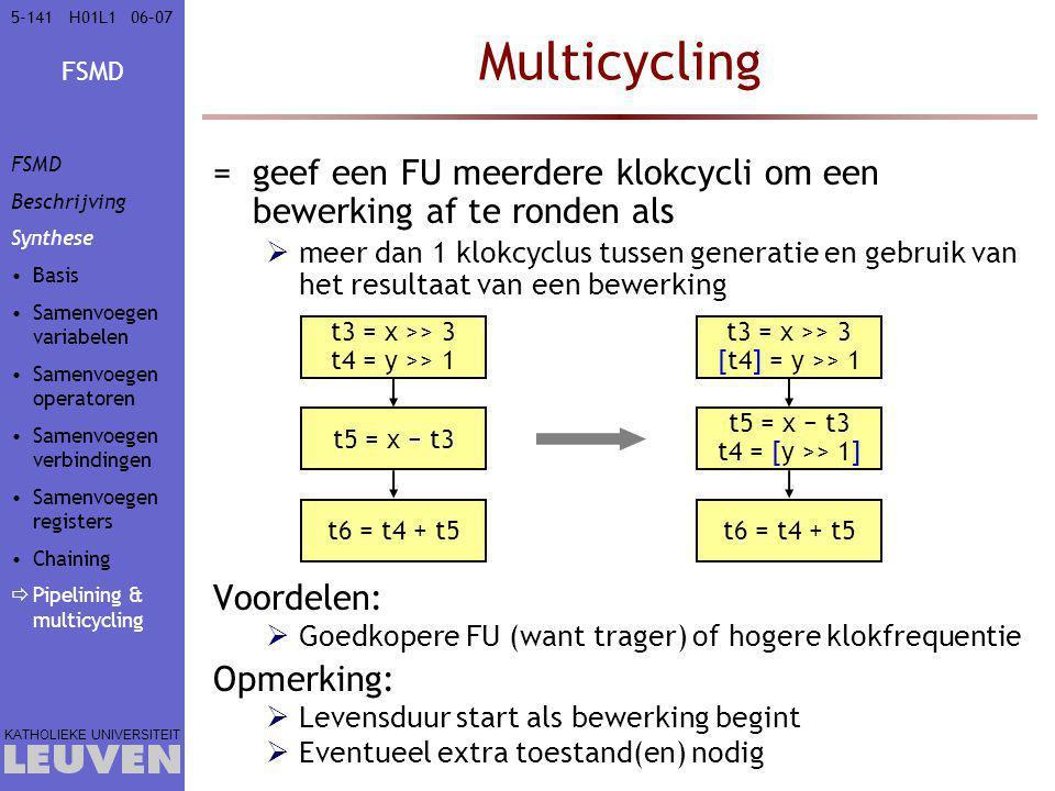 Vak - hoofdstuk Multicycling. FSMD. Beschrijving. Synthese. Basis. Samenvoegen variabelen. Samenvoegen operatoren.
