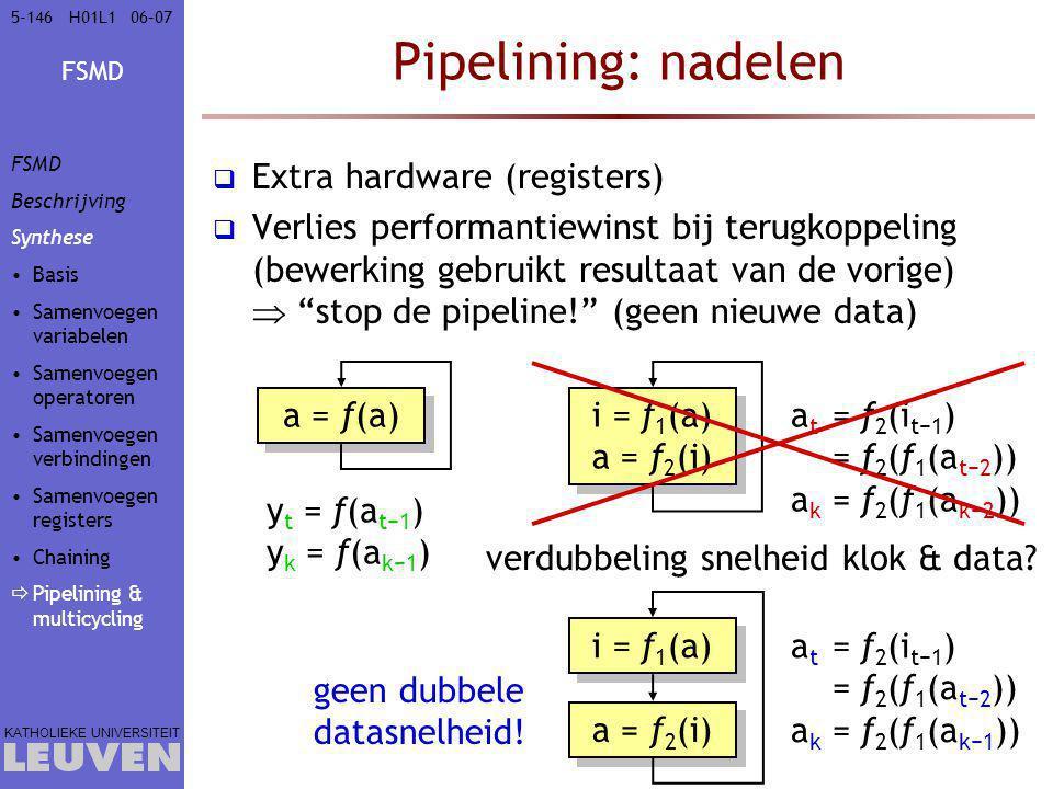 Pipelining: nadelen Extra hardware (registers)
