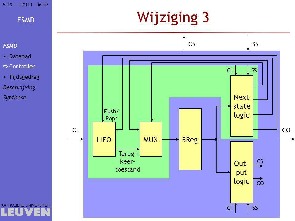 Wijziging 3 Next state logic SReg LIFO MUX Out- put logic CS SS CI CO