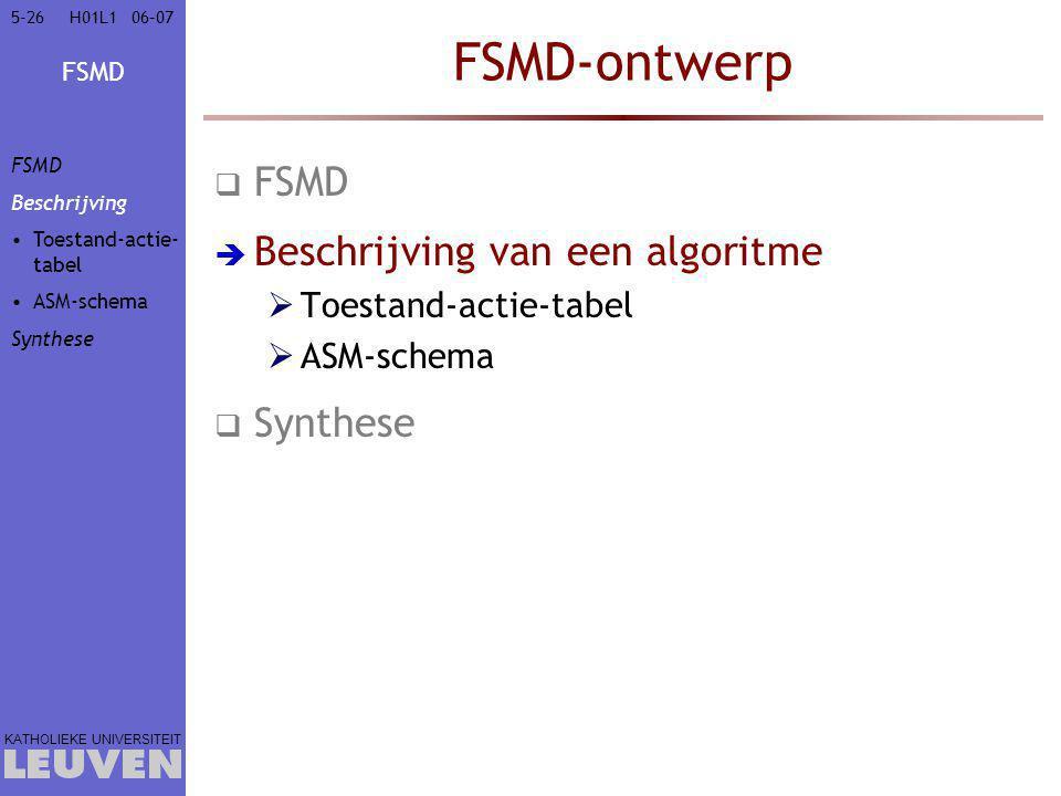 FSMD-ontwerp FSMD Beschrijving van een algoritme Synthese