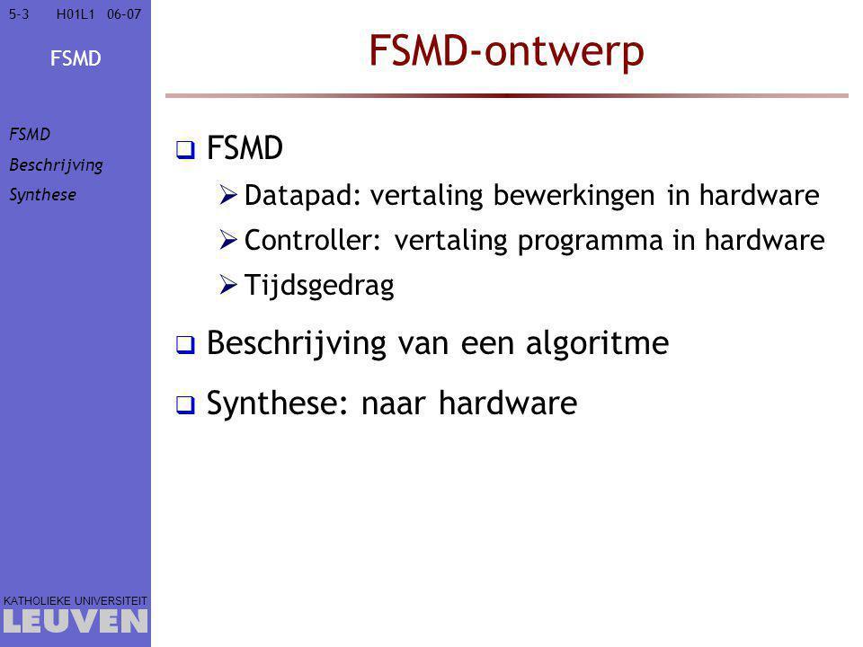 FSMD-ontwerp FSMD Beschrijving van een algoritme