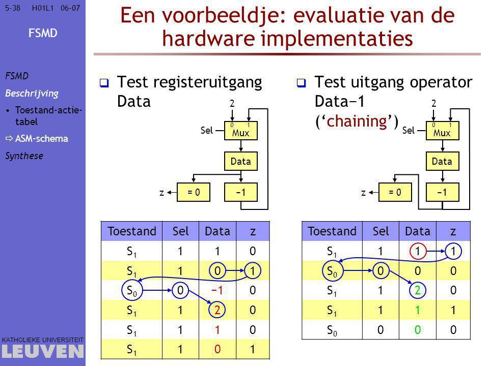 Een voorbeeldje: evaluatie van de hardware implementaties